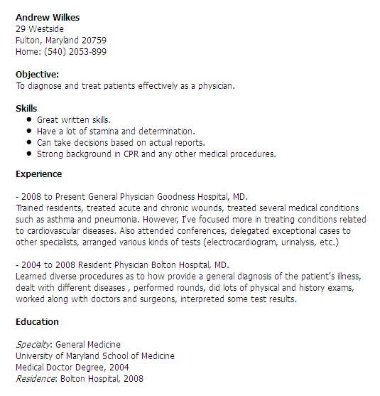 Resume sample doctor