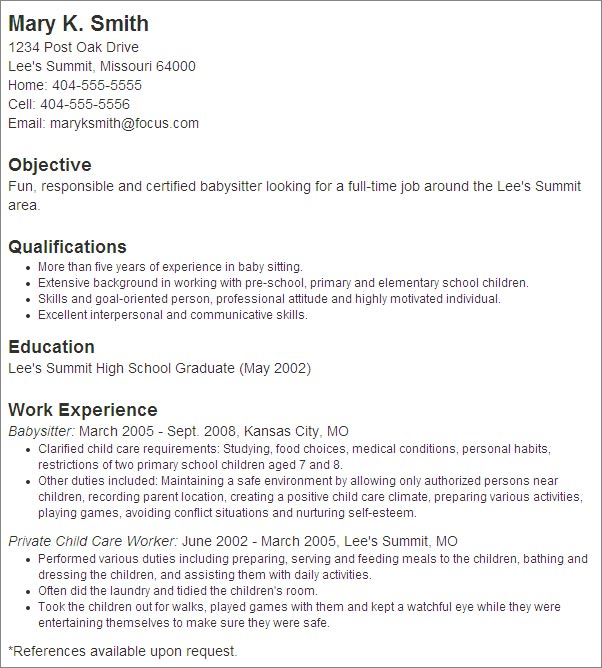 babysitter job description duties babysitter resume objective