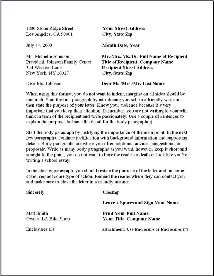 Business Letter Format No Recipient Address
