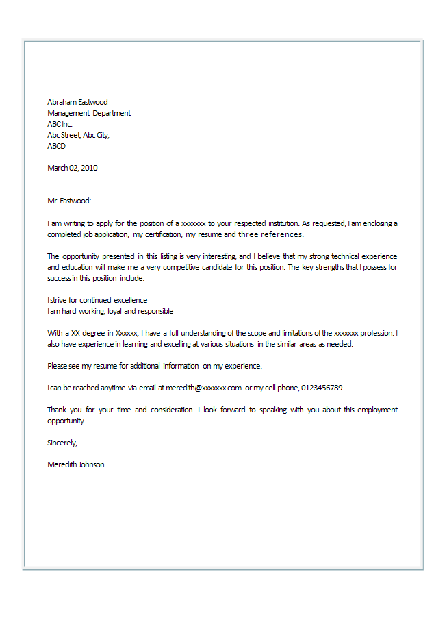 How to write an application letter make