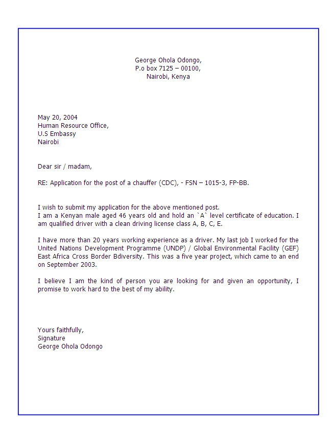 application for employment letter writing