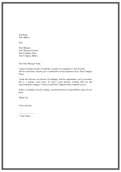 template of a letter of resignation