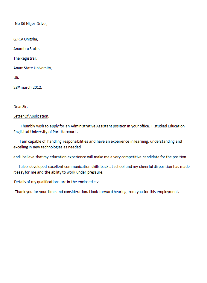 Job Application Letter Sample English