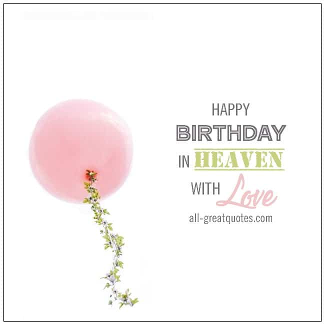 Happy birthday in heaven with love free cards