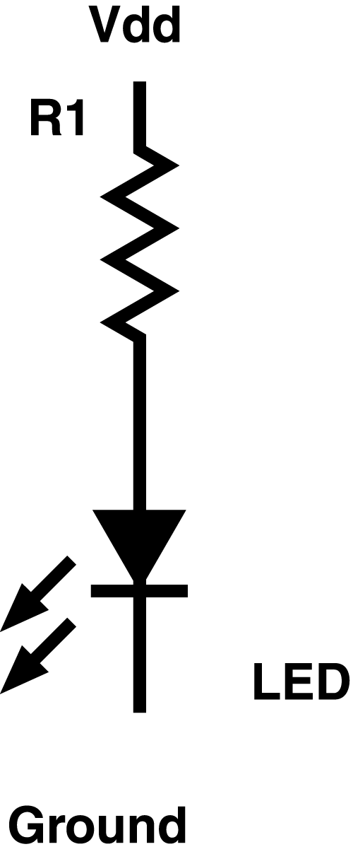 circuits for the microcontroller and selection of the led resistor