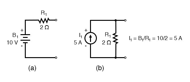 current sources and parallel resistors yields the modified circuit