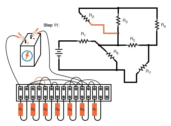threeresistor circuit is shown constructed on a terminal strip