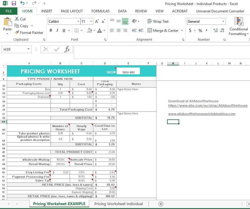 Product pricing calculator Office Templates - mandegarinfo