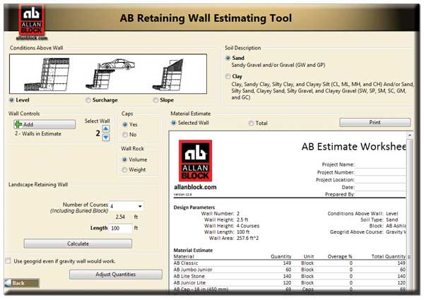 Estimating Tools for Retaining Walls, Courtyard Walls and Fences - Design Of Retaining Walls Examples