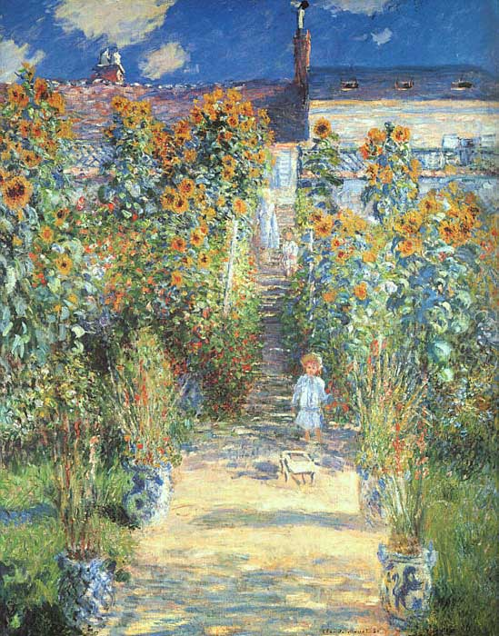 Oil Painting Reproduction of Monet- The Artist\u0027s Garden at Vetheuil