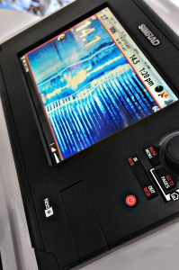 Simrad's NSS 8 with its touch screen, control knob and minimalist keypad.
