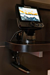 Raymarine's Dragonfly combo chartplotter with CHIRP transducer.