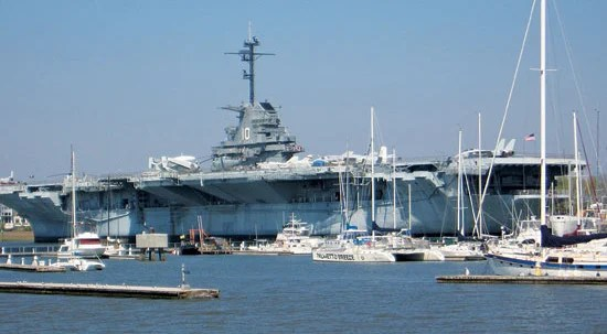 The USS Yorktown is berthed behind Charleston Harbor Resort and Marina at Patriots Point. Photo by Rob Lucey