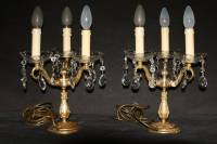 VINTAGE PAIR ELECTRIFIED FRENCH BRASS CANDLESTICKS ...