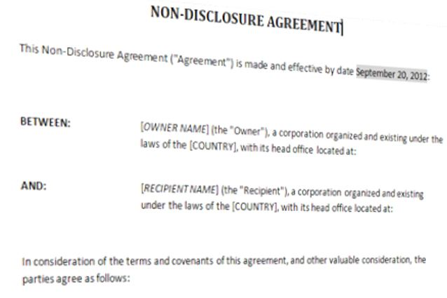Non Disclosure Agreement Template Templates at