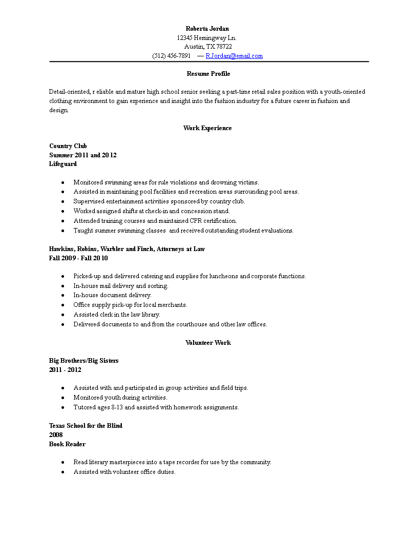 sample resume of recent high school graduate