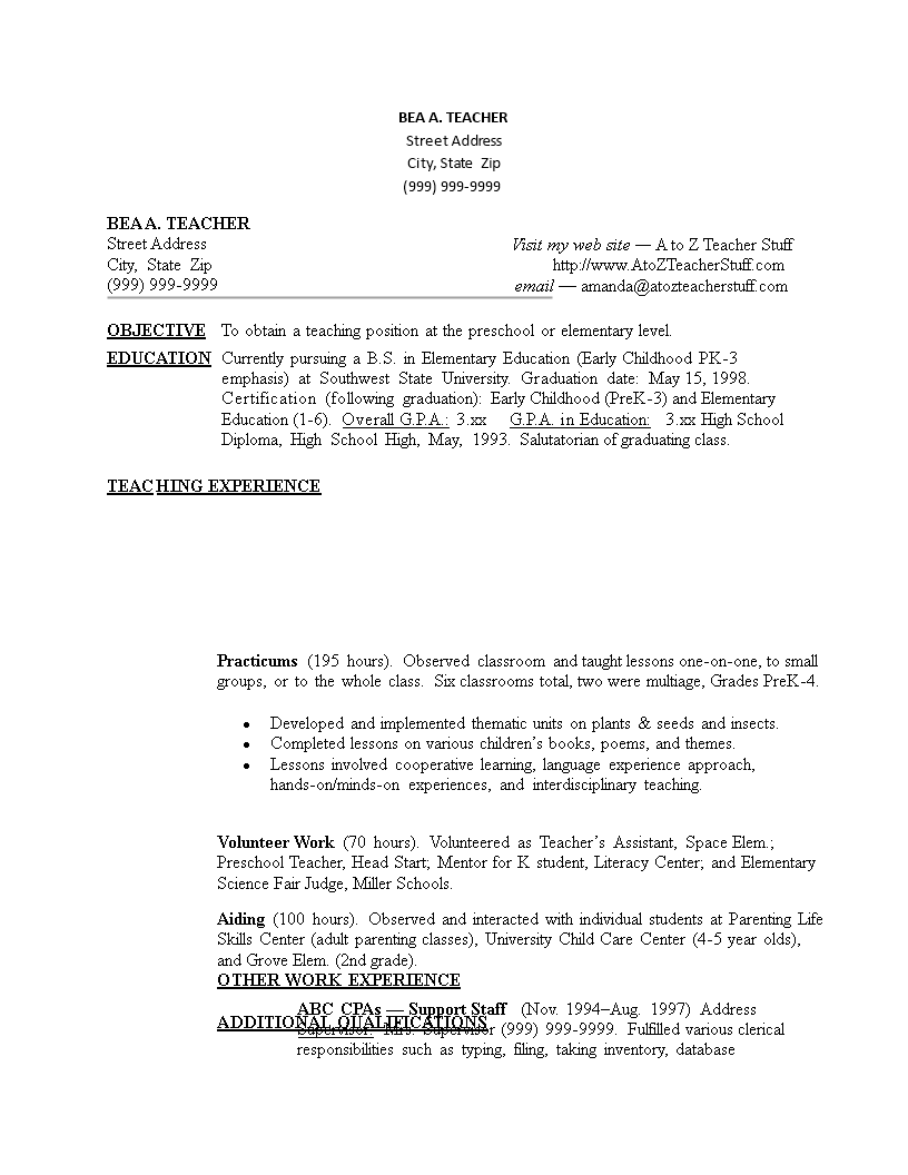 sample resume for teachers without experience doc