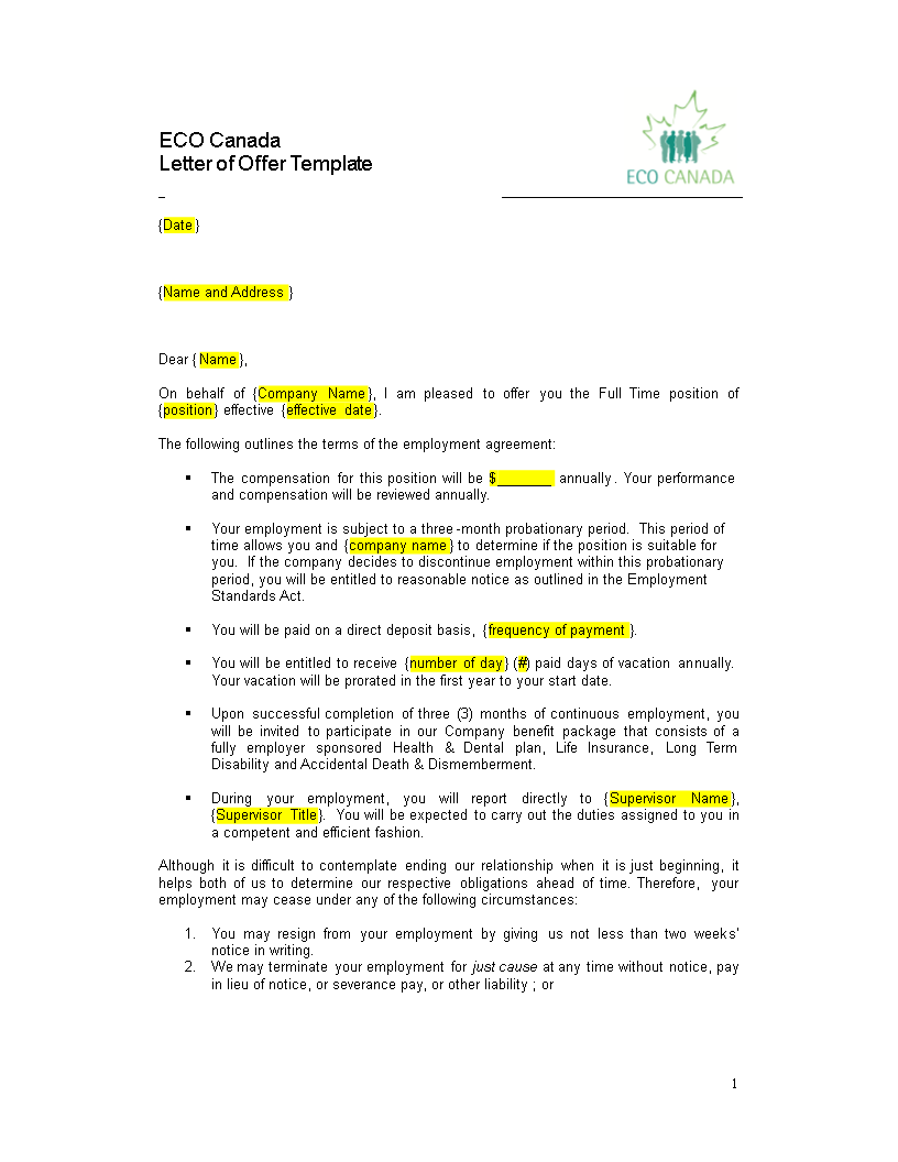 employment notice letter