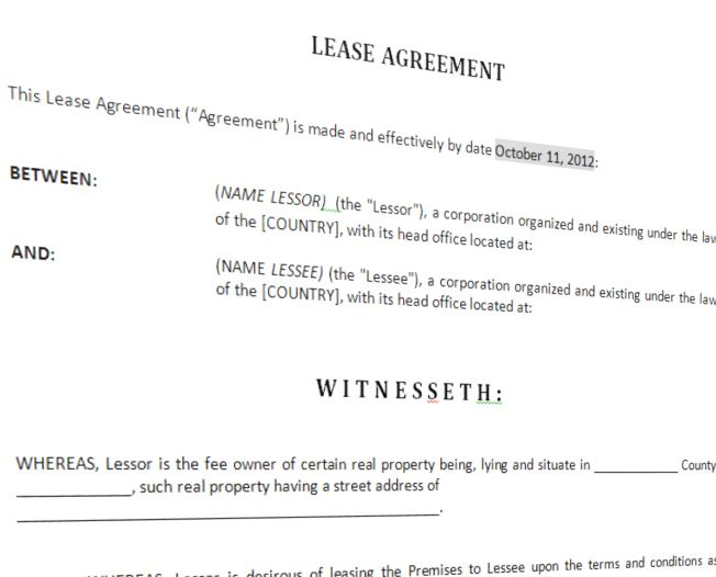 Lease Agreement For Furnished House Template Templates at