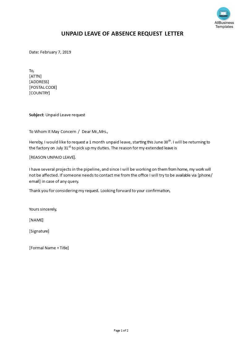 leave of absence templates