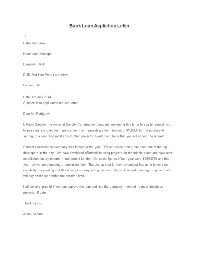 Free Bank Loan Application Letter template   Templates at allbusinesstemplates.com