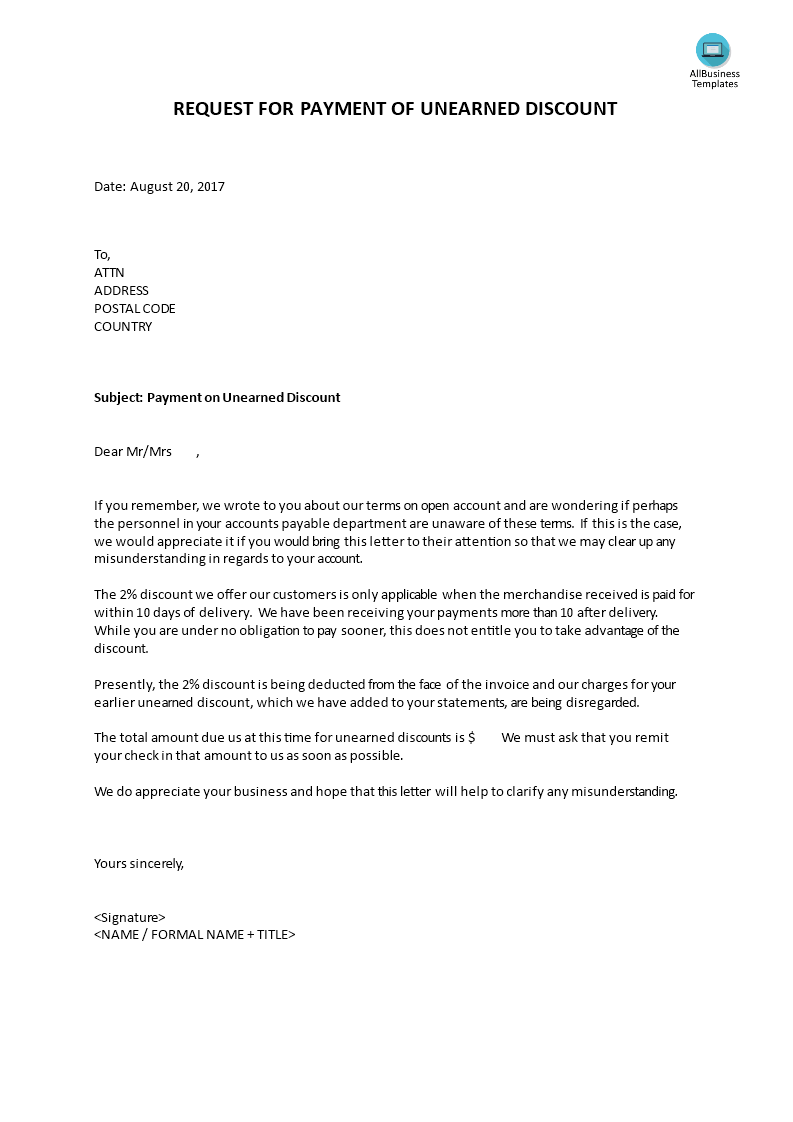 request for payment letters