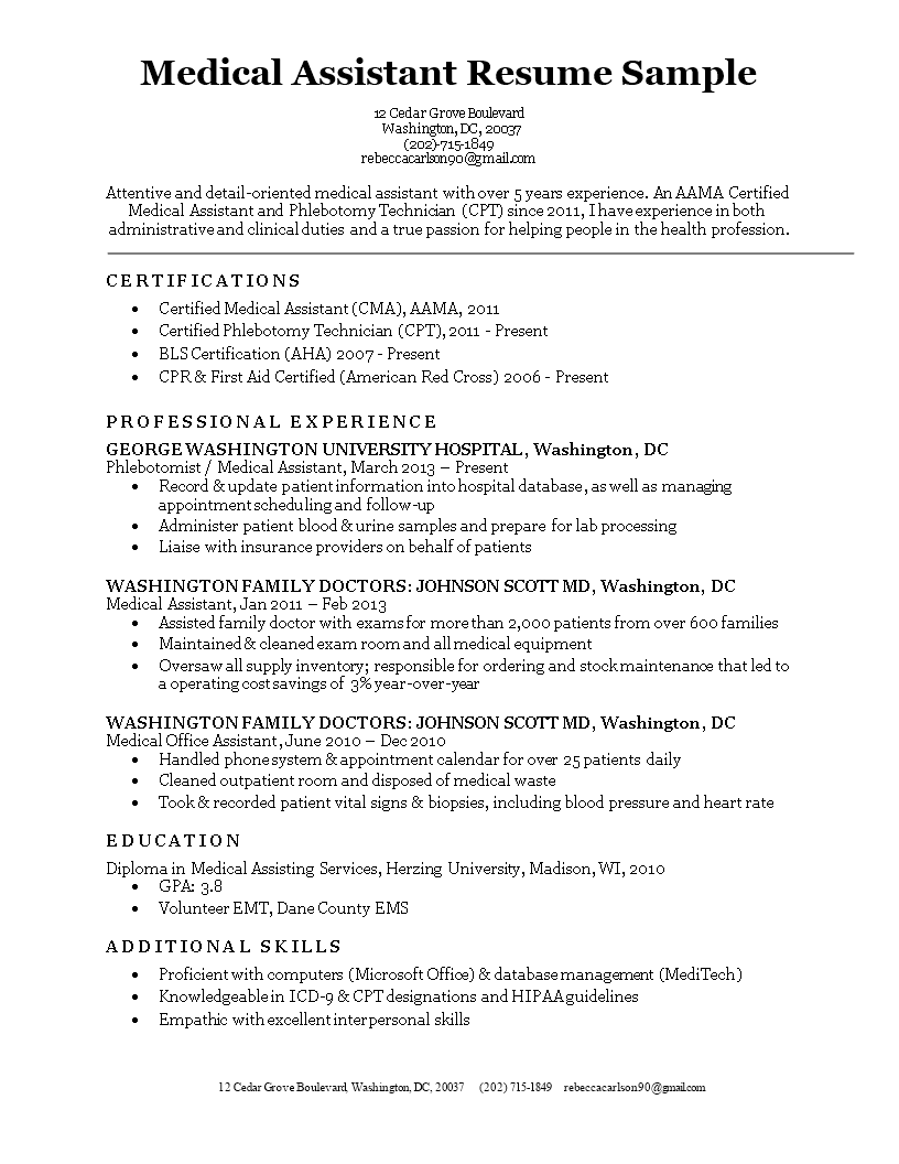 sample resume phlebotomist medical assistant