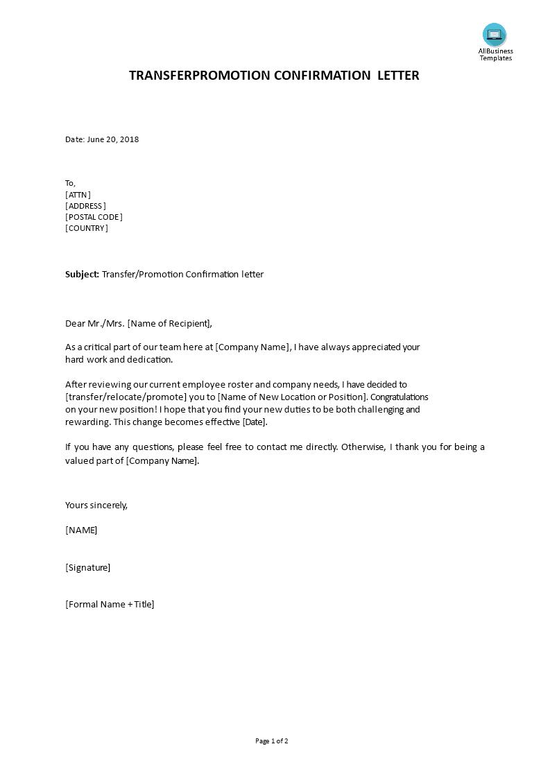 sample letter of job transfer