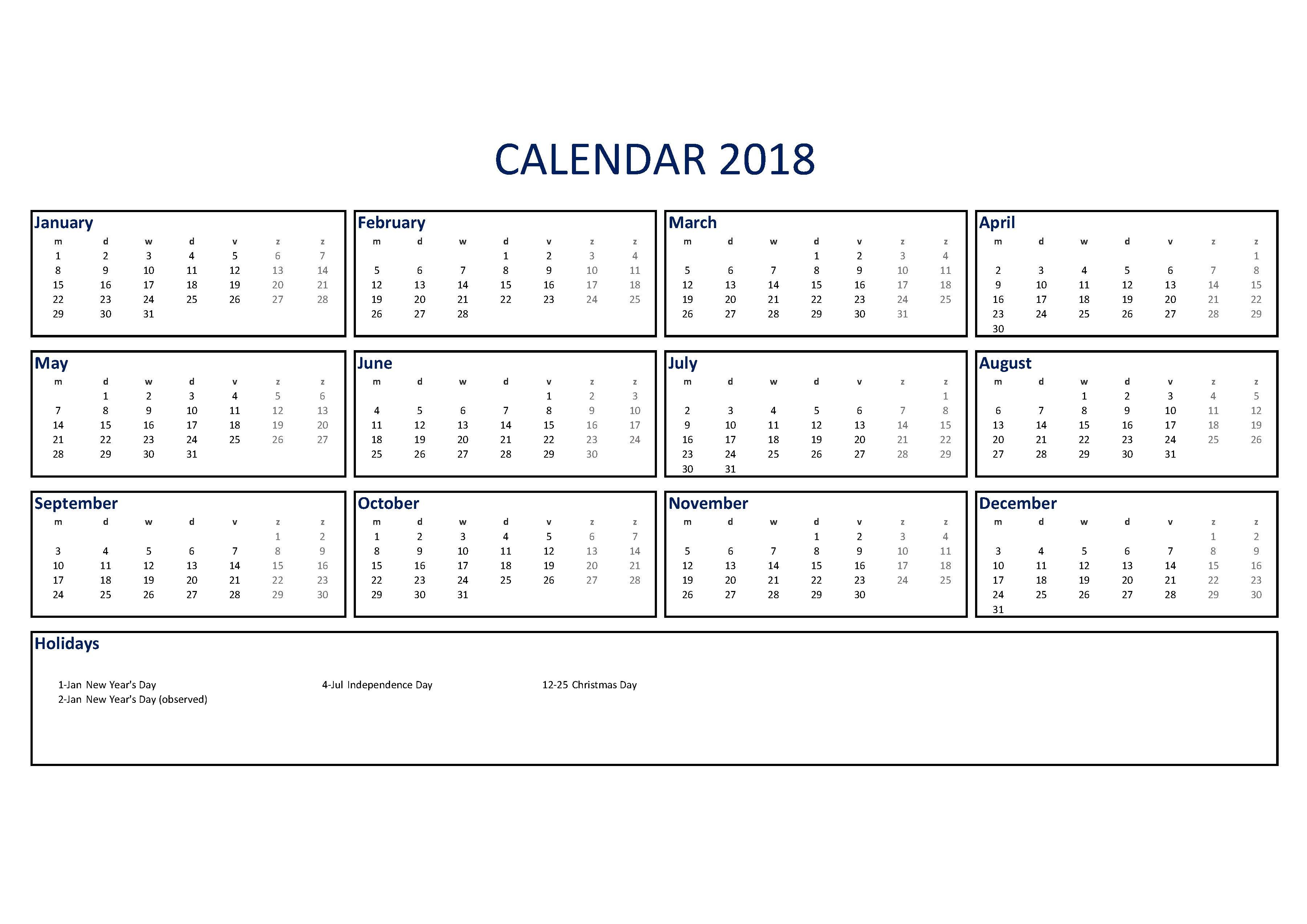 Make A 2017 Calendar In Excel Includes Free Template Free 2018 Calendar Excel A4 Size Templates At