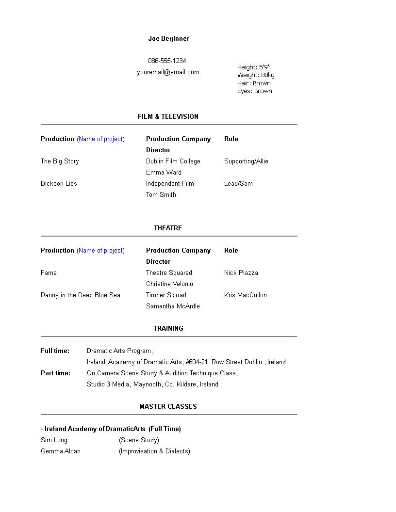 free beginner resume templates word format
