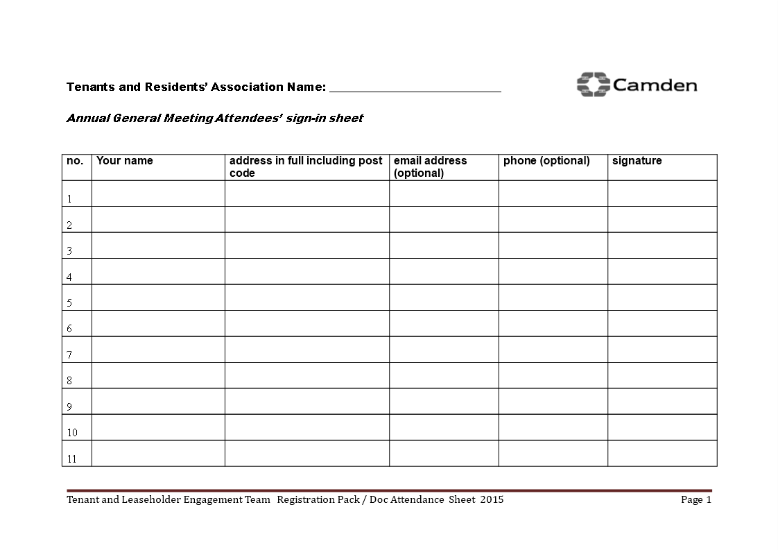 meeting sign in sheet template word