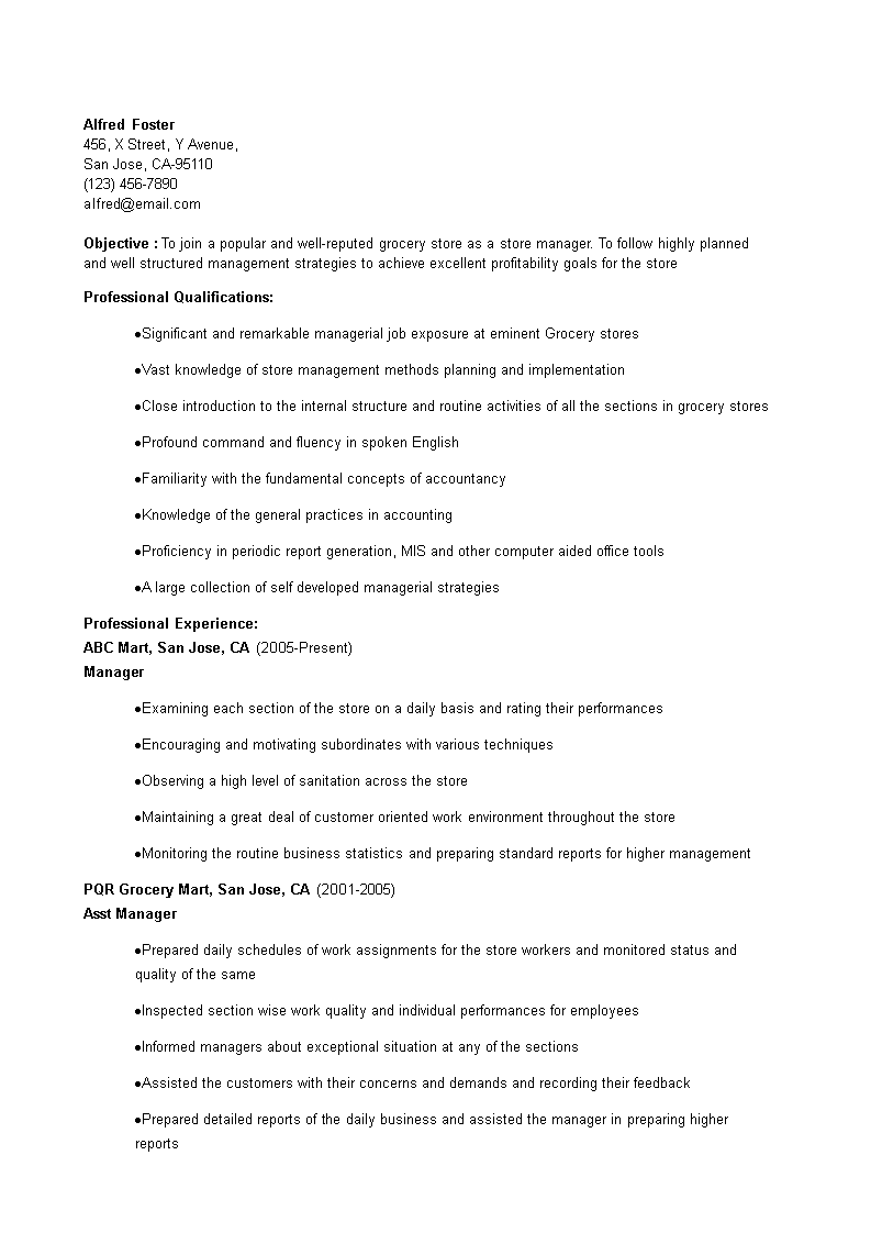 resume template of store