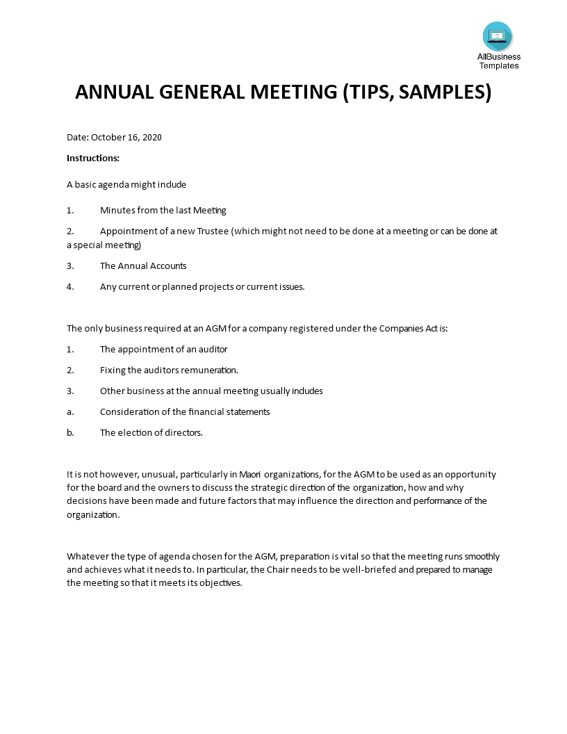example of meeting agenda