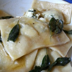 Spinach ricotta ravioli with burnt butter & sage