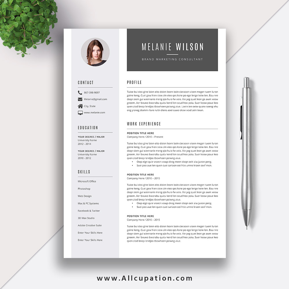resume layout references