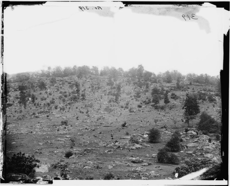 Little Round Top was the scene of intense fighting during the second day of the battle. For historical accuracy, the Park Service maintains a clear-cut that was done here just before the battle. Photo: Library of Congress