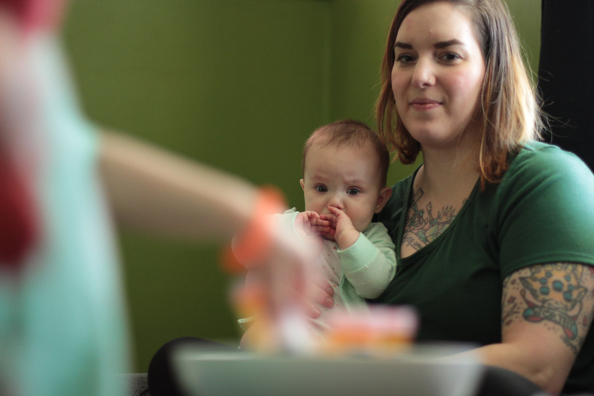 "Erin Yourd at home with her six-month-old daughter. ""I wish we could come up with something better,"" she says of drug disposal options. ""It would be really handy to be able to [take it back] to the pharmacy and say, 'dispose of this properly for us.'"" Photo: Margaret J. Krauss"