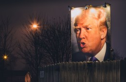 Donald Trump Backyard Photo Sign at Night - West Des Moines, Iow