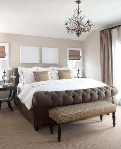 raumgestaltung-ideen-schlafzimmer-bett-braun-beige - schlafzimmer grau braun