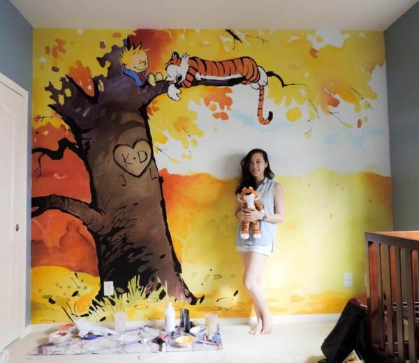 Fall Tree And Black Fence Wallpaper Wandmalerei Im Kinderzimmer Ein Entz 252 Ckendes Ambiente