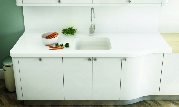 Weisse Kuchenarbeitsplatte Quarz Corian weisse - kuche arbeitsplatte kabelloses ladegerat