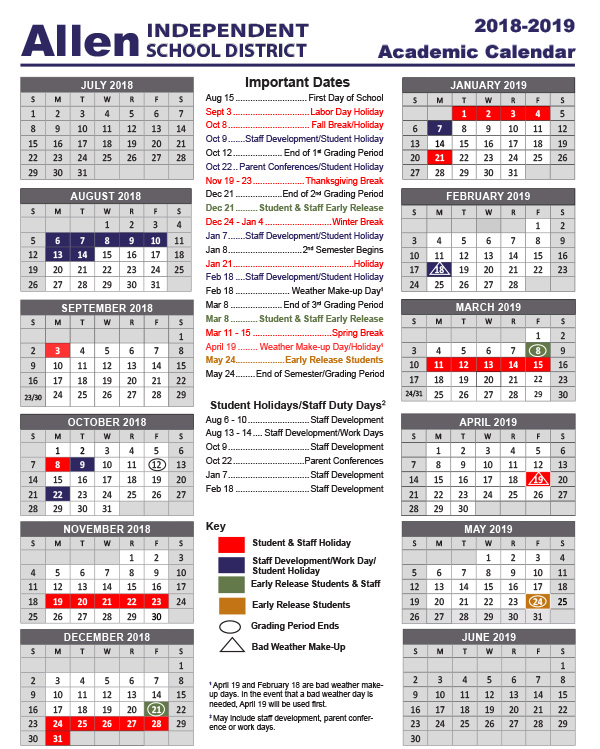 Academic School Year Calendar / 2018-2019 School Calendars