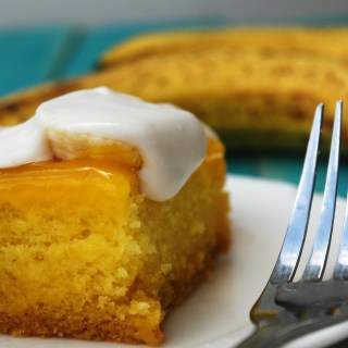 Gluten Free & Vegan Banana Cream Poke Cake by Allergy Awesomeness