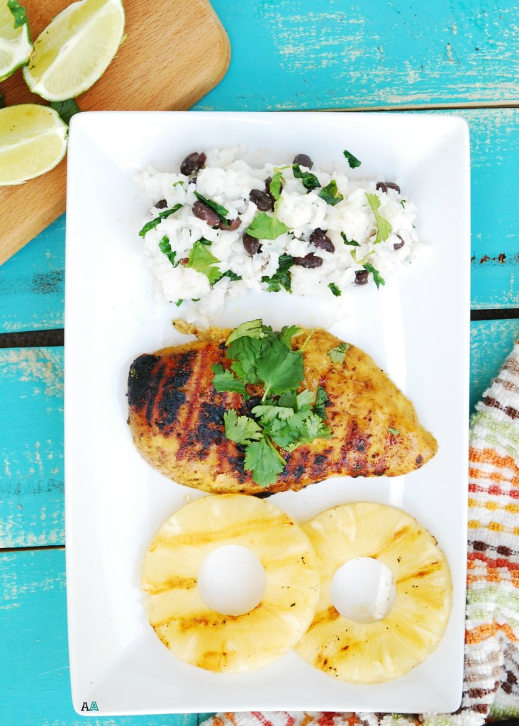 Grilled Island Chicken with Lime, Cilantro and Coconut Rice & Beans ...