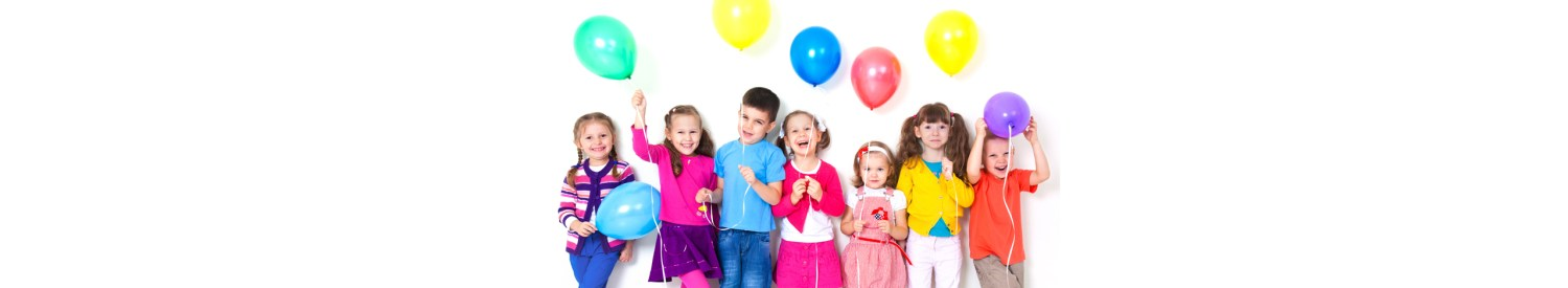 slider background showing children laughing at camera holding balloons