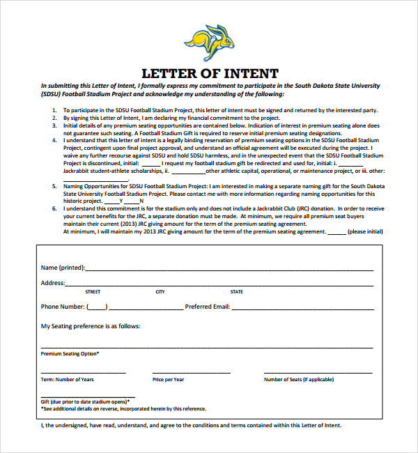 Free Letter of Intent Template, samples, formats, 40+ examples All