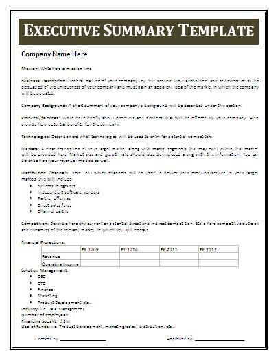 Executive Summary Templates, 15+ examples and Samples All Form