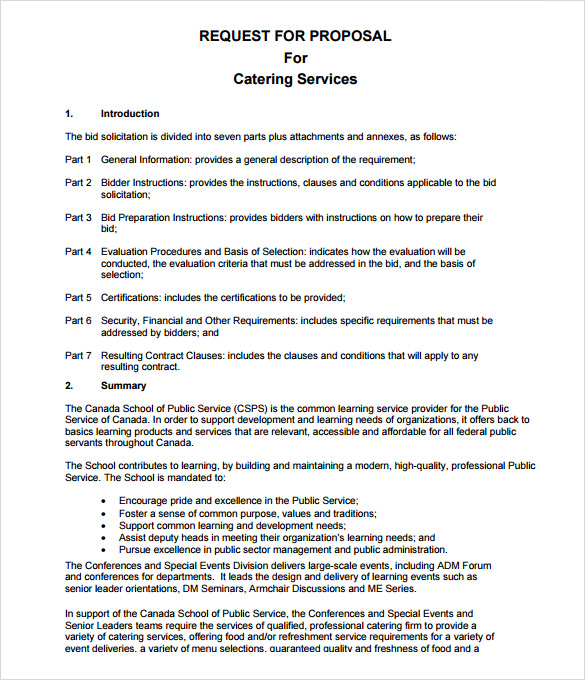 Catering Proposal Templates, 10+ Catering Templates, Services All
