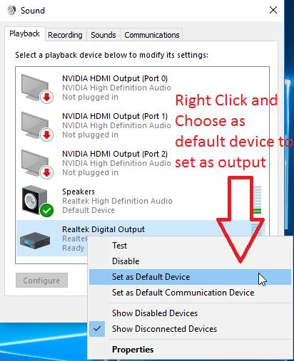 Set default audio device in Windows 10