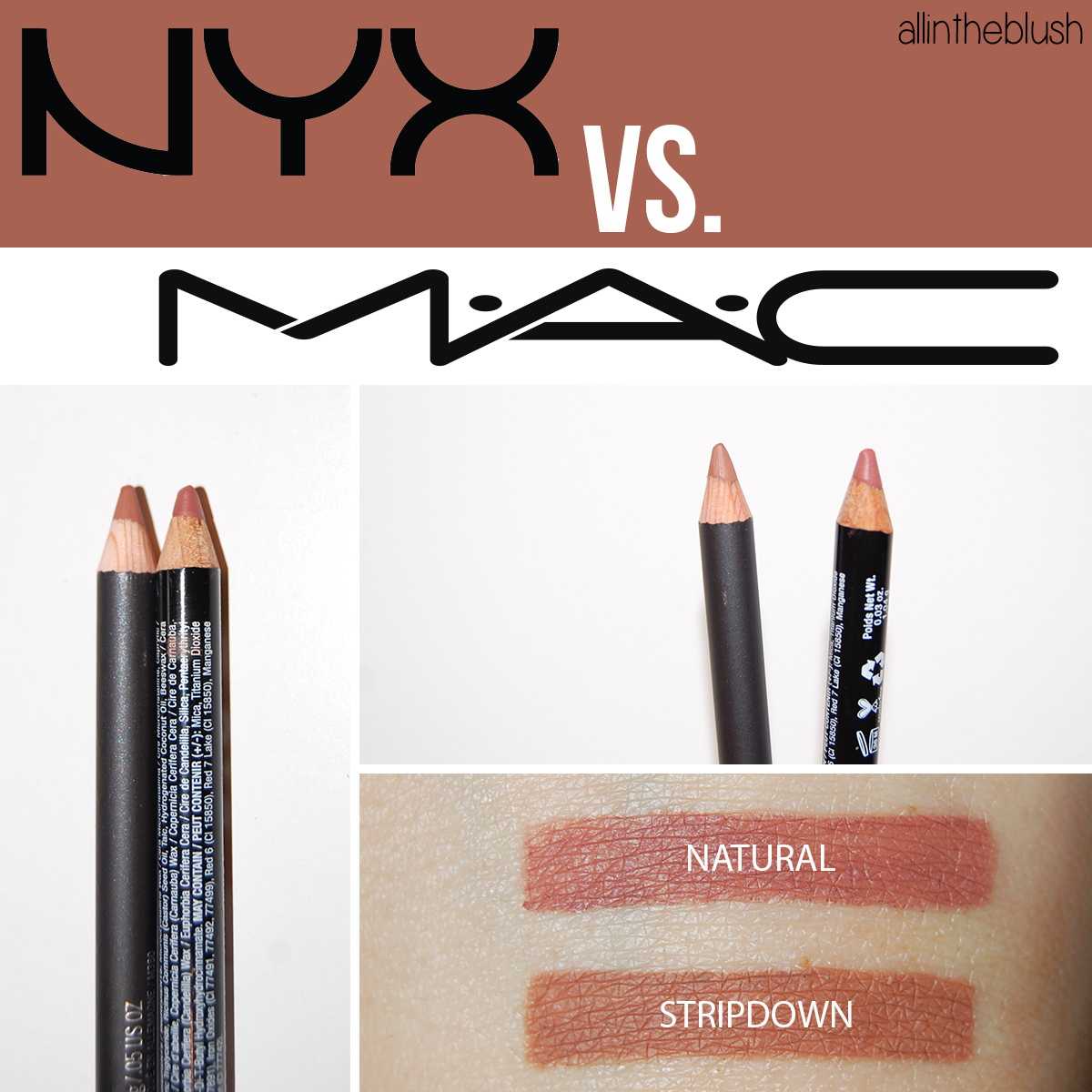 Dupe: MAC Stripdown Lipliner vs. NYX Natural Lipliner
